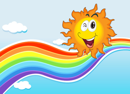 Illustration of a smiling sun near the rainbow Vector