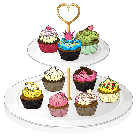 melaware: Illustration of a tray with cupcakes on a white background