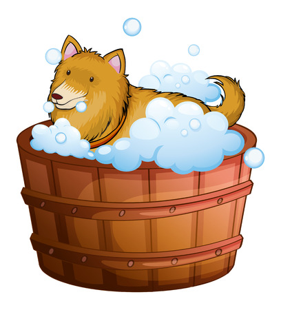 Illustration of a big dog at the bathtub on a white background Vector