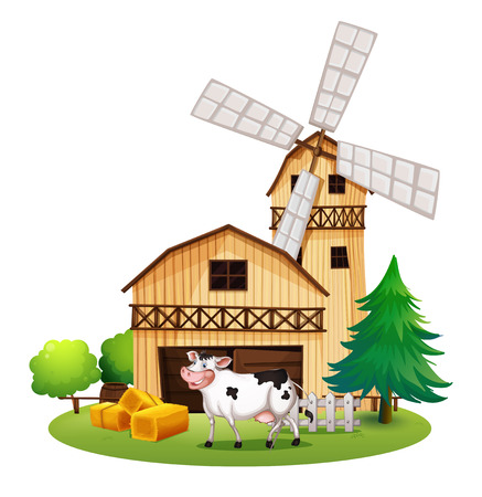 Illustration of a cow in front of the barnhouse on a white background Vector