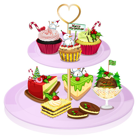 Illustration of a cupcake tray with lots of baked goods on a white background Illustration