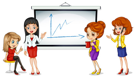 formal attire: Illustration of the girls near the bulletin board on a white background