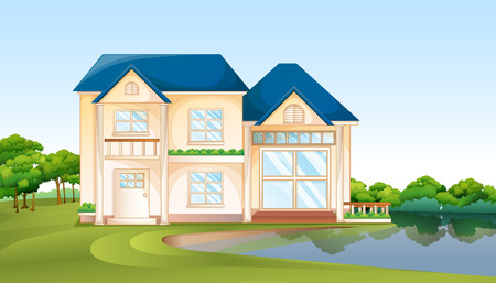 Illustration of a big house near the lake Vector