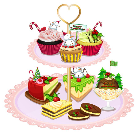 melaware: Illustration of a tray with different baked goods on a white background