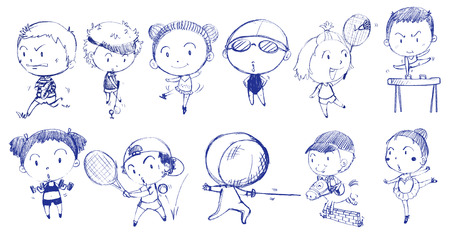 stickmen: Illustration of the blue doodle design of people playing with the different sports on a white background