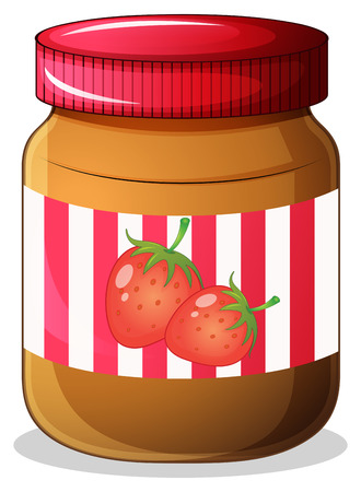 Illustration of a bottle of strawberry jam on a white background