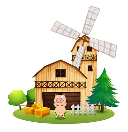 Illustration of a playful pig outside the wooden barnhouse with a windmill on a white background Vector