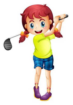 teen golf: Ilustración de una linda niña jugando al golf en un fondo blanco