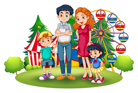 Illustratie van een familie in het pretpark op een witte achtergrond