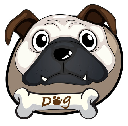 Illustration of a head of a bulldog on a white background Vector