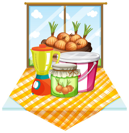 cartoon window: Illustration of the onions near the window on a white background