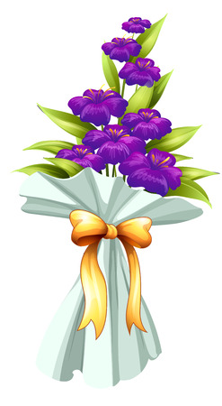 Illustration of a boquet of fresh violet flowers on a white background Vector