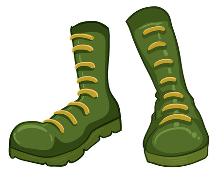 hard rain: Illustration of a pair of green boots on a white background