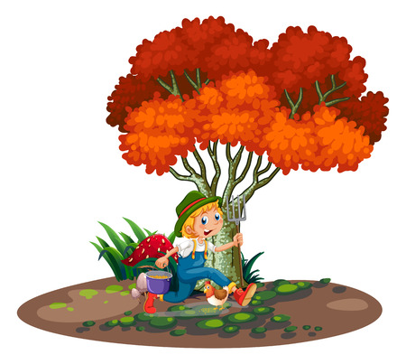 industrious: Illustration of a happy young gardener on a white background
