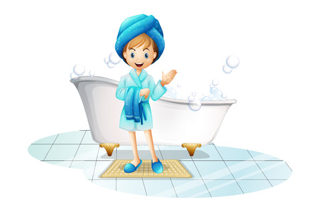 floor mat: Illustration of a happy girl wearing a blue robe and a blue shower cap on a white background