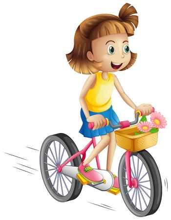 bicicleta: Ilustración de una niña feliz que monta una bicicleta en un fondo blanco