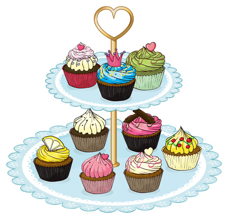 Illustration of a cupcake tray full of cupcakes on a white background Vector