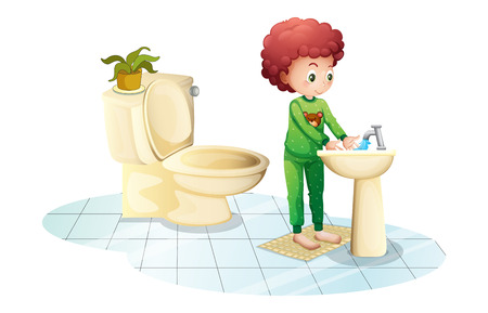 cr: Illustration of a young man washing his hands on a white background