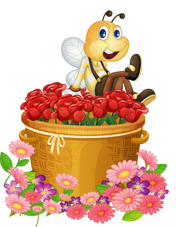 Illustration of a basket of red roses with a big bee on a white background Vector