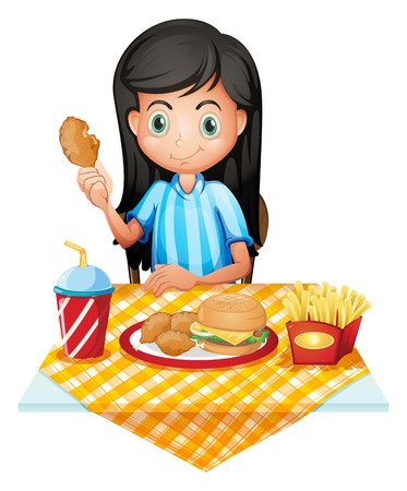 Illustration of a girl eating on a white background Vector