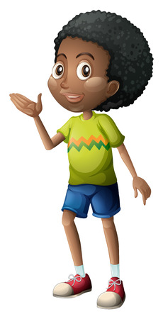 dark complexion: Illustration of a young boy on a white background