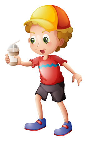 Illustration of a boy with a disposable glass on a white background Vector