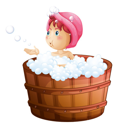 Illustration of a young girl playing with the bubbles while taking a bath on a white background Vector