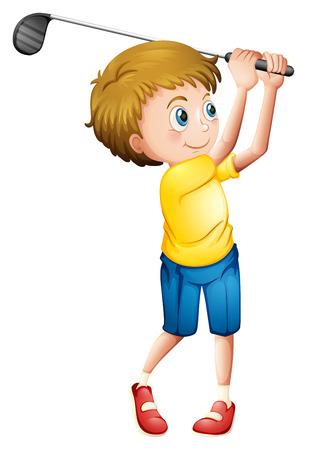teen golf: Ilustración de un hombre joven jugando al golf en un fondo blanco