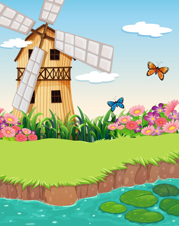 barnhouse: Illustration of a barnhouse with a windmill near the river