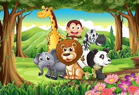 lion dessin: Illustration d'une forêt avec les animaux