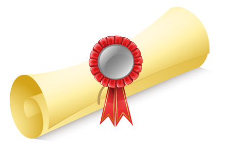 rolled paper: Illustration of a rolled paper with a red ribbon on a white background