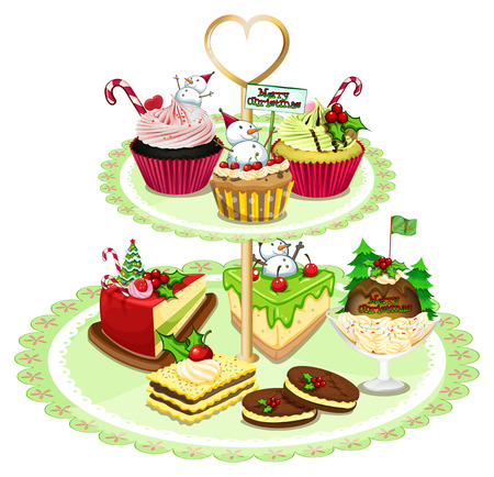 Illustration of the baked goods arranged in the tray on a white background Vector