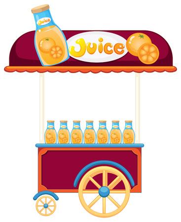 Illustration of a pushcart selling orange juice on a white background