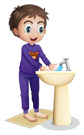 görüntü: Beyaz bir arka plan üzerinde ellerini yıkayan bir çocuk İllüstrasyon