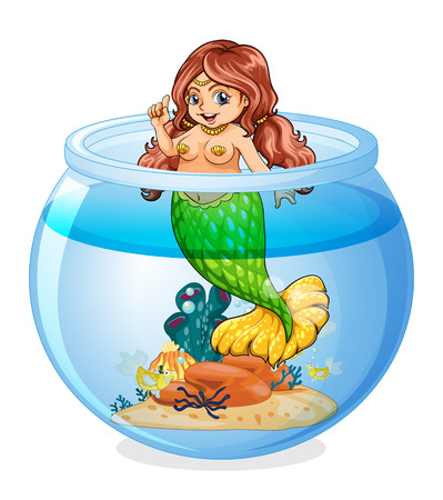 Illustration of an aquarium with a mermaid on a white background Vector