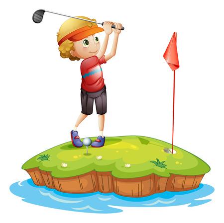 teen golf: Ilustración de una isla con un muchacho que juega al golf en un fondo blanco