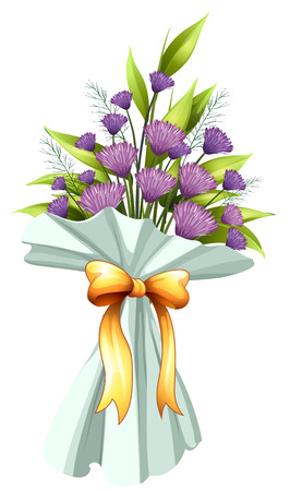 Illustration of a boquet of violet flowers on a white background Vector