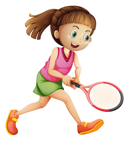 tennis skirt: Illustration of a female tennis player on a white background