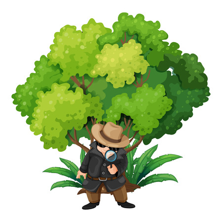 enforcer: Illustration of a detective near the big tree on a white background
