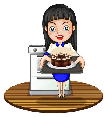 白い背景の上のケーキを焼く女の子のイラスト