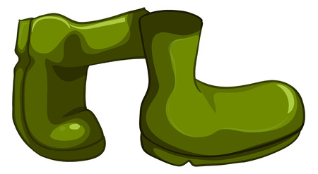 hard rain: Illustration of a pair of green shoes on a white background Illustration