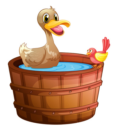 regimen: Illustration of a duck and a bird taking a bath on a white background