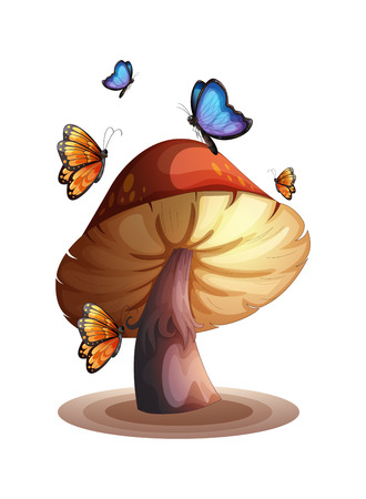 giant mushroom: Illustration of a big mushroom with butterflies on a white background Illustration