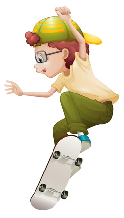 Illustration of a young man playing with the skateboard on a white background Vector