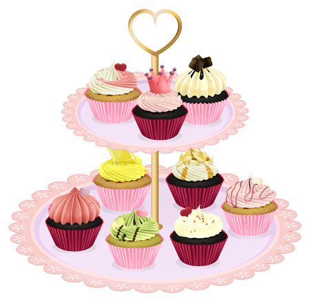 melaware: Illustration of the cupcakes at the tray on a white background
