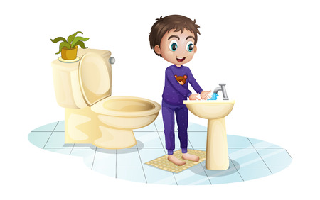 Illustration of a boy washing his hands at the sink on a white background