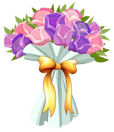 Illustration of a boquet of blooming flowers on a white background Vector