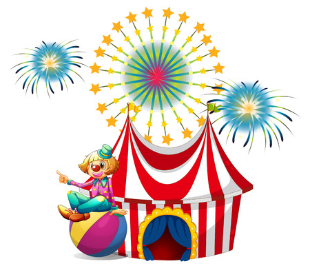 Illustration of a clown sitting above the ball at the carnival on a white background Vector