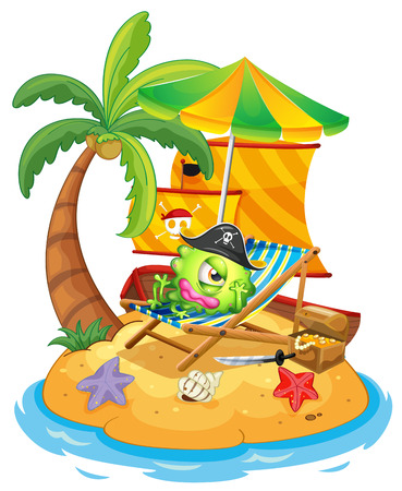 flaglets: Illustration of an island with a monster pirate on a white background Illustration