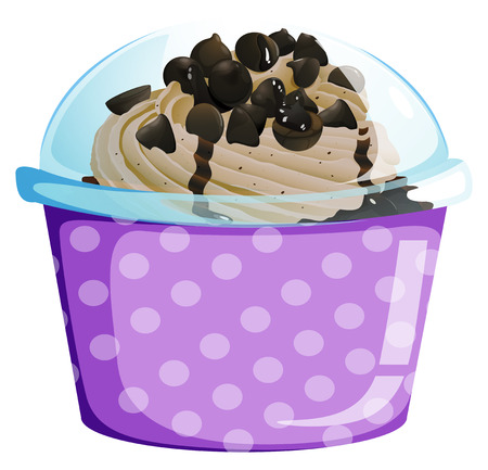 flavorful: Illustration of a lavender disposable cup with a cake inside on a white background